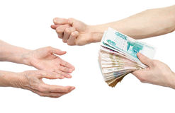 Hands and money Royalty Free Stock Images