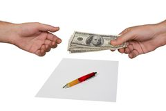 Hands, money and contract Royalty Free Stock Images