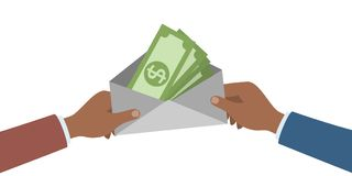 Hands with money. vector illustration