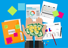 Hands with money and financial reports Stock Photography