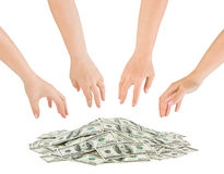Hands and money heap Stock Photo