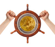Hands and money helm - finance management. Concept stock photography