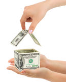 Hands and money house Royalty Free Stock Images