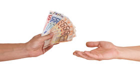 Hands with money Stock Photos