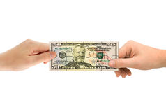 Hands and money puzzle Stock Image