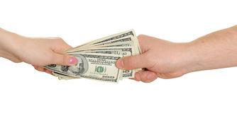 Hands with moneys Royalty Free Stock Image