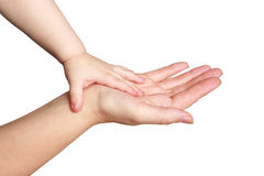 Hands of mother and the child. Trust, care and love Royalty Free Stock Photo
