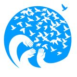 Hands, mourners birds. Illustration in the circle. Symbol of the blue planet. Symbol of peace, freedom and kindness Stock Photos