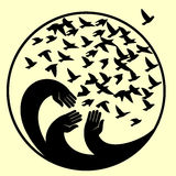 Hands, mourners birds. Vector illustration in the circle . The symbol of the blue planet. A symbol of peace, freedom and kindness Royalty Free Stock Photo