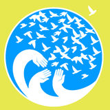 Hands, mourners birds. Vector illustration in the circle. Symbol of the blue planet. A symbol of peace, freedom and kindness Royalty Free Stock Photo