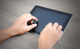 Hands multitasking man using tablet Stock Photography