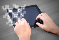 Hands multitasking man using tablet Royalty Free Stock Images