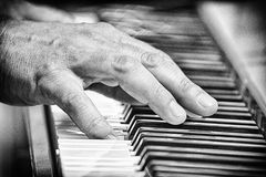 Keyboards. Hands of a musician, hard at work on the keyboards Royalty Free Stock Photos