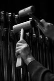 Hands musician playing the orchestral bells Stock Photos