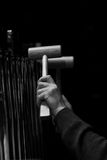 Hands musician playing the orchestral bells Stock Photo
