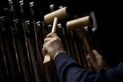 Hands musician playing the orchestral bells Royalty Free Stock Photography