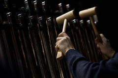 Hands musician playing the orchestral bells Royalty Free Stock Image