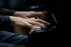 Hands musician playing the piano closeup Stock Image