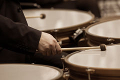 Hands musician playing timpani Royalty Free Stock Photos