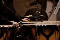 Hands musician playing timpani Stock Image
