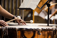 Hands musician playing the timpani Stock Images