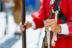 Hands of a musketeer holding a musekt Royalty Free Stock Photo