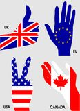 Hands national flags of the European Union, Canada, the USA and the UK . The peace gesture, thumbs up, the gesture of voting. Stock Images
