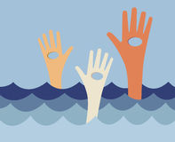 Hands need for help to relief from debt Royalty Free Stock Images