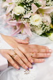 Hands of new married Stock Image