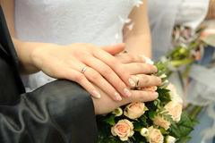 Hands of a newly-married couple Stock Photography