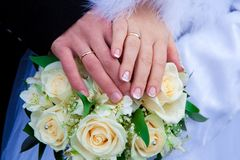 Hands of a newly-married couple Royalty Free Stock Photo