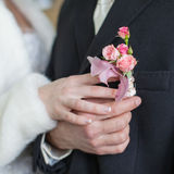 Hands of newly wedded before wedding ceremony Royalty Free Stock Photos
