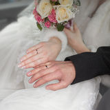Hands of newly wedded Royalty Free Stock Photography