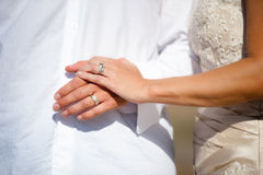 Hands Of Newlywed Bride And Groom. Showing Brides Ring and Grooms Wedding Band Royalty Free Stock Image