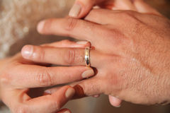 Hands of newlywed couple. Newlywed bride putting ring on hand of groom Royalty Free Stock Photography
