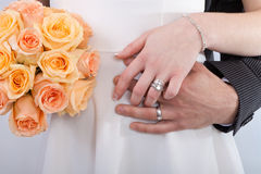 Hands of a newlywed couple Royalty Free Stock Photo
