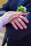 Hands newlywed. Groom and bride. Hands the newlywed with wedding rings. Groom and bride Stock Image