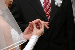 Hands of newlyweds Stock Photography