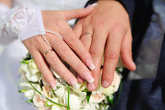 Hands of the newlyweds Royalty Free Stock Photos