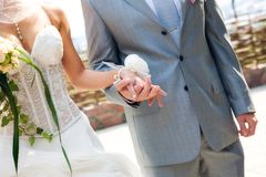 Hands of the newlyweds Royalty Free Stock Photography