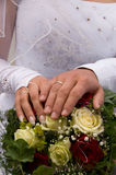 Hands of newlyweds. Royalty Free Stock Images