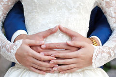 Hands of newlyweds Royalty Free Stock Photos