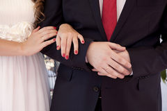Hands of newlyweds Royalty Free Stock Images