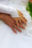 Hands of newlywedses Royalty Free Stock Photography