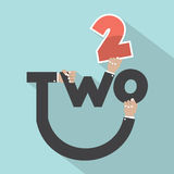 Hands With Number Two Typography Design Royalty Free Stock Photo