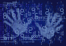 Hands and numbers. Blue background with digital numbers and defending hands. Vector illustration Royalty Free Stock Image