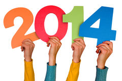 Hands with numbers shows year 2014 Stock Photos