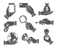 Hands with object icons set, Flat Design Vector illustration Royalty Free Stock Photography