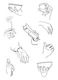 Hands with objects. Different gestures of a hands with objects Stock Image