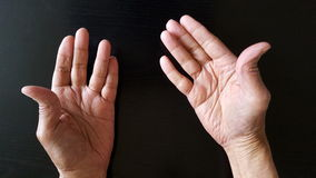 Hands Of An Old Person Stock Photos